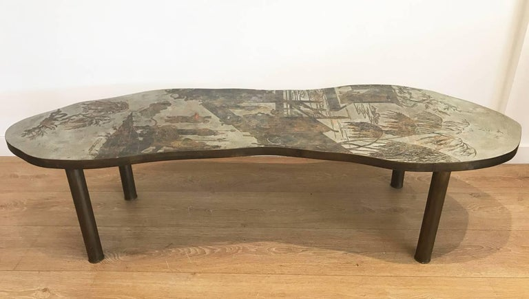 Mid-20th Century Free-Form Chinoiserie Coffee Table by Kelvin and Philip Laverne For Sale