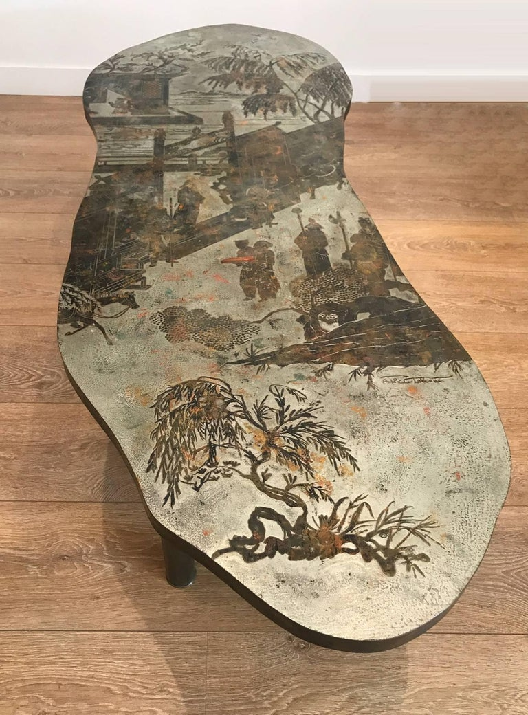 Mid-Century Modern Free-Form Chinoiserie Coffee Table by Kelvin and Philip Laverne For Sale