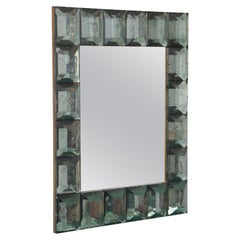 Contemporary Sea Green Diamond Murano Glass Blocks Mirror, In Stock