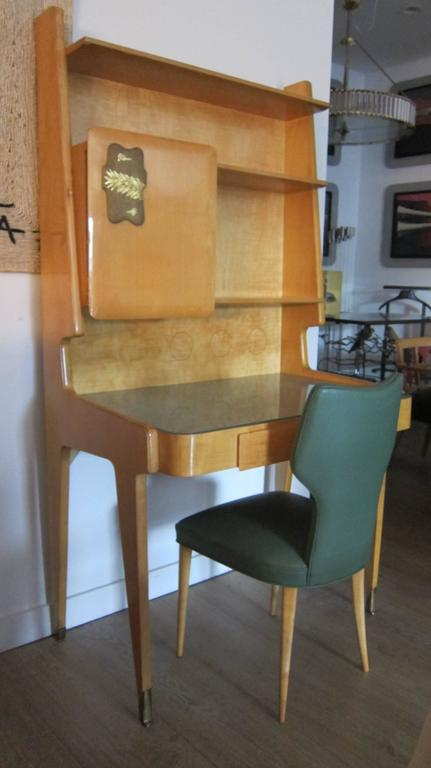 Italian 1950s Gio Ponti Style Upright Desk with Chair. 2