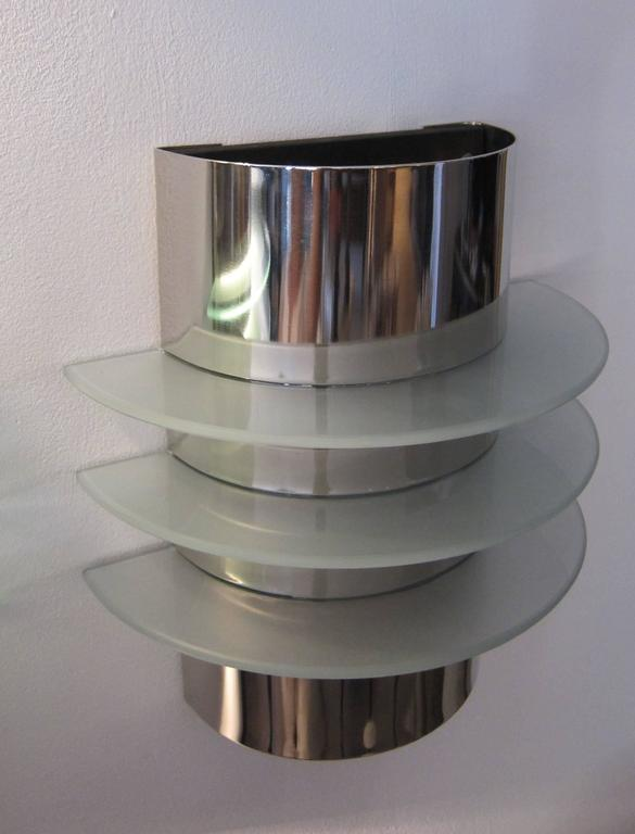 Group of Six Art Deco style Chrome and Glass Wall Lights. 3