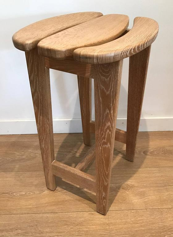 Set of Three Bar Stools by Guillerme et Chambron 3