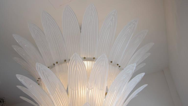 Monumental Hollywood Regency style Palm Leaves Glass Chandelier 4
