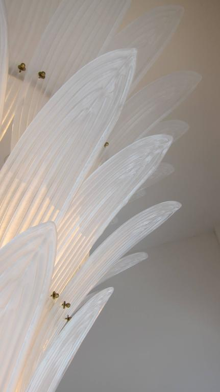 Monumental Hollywood Regency style Palm Leaves Glass Chandelier 6