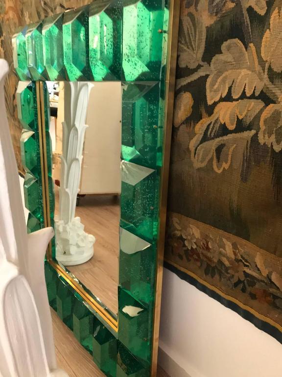Modern Italian Emerald Green Faceted Glass Mirror 3