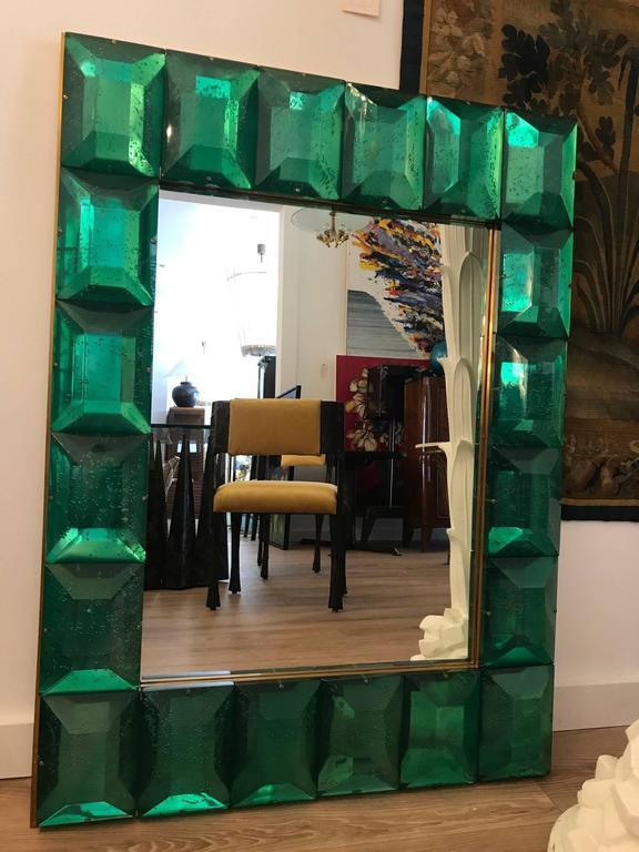 Emerald Green Murano Glass Framed Mirror 6
