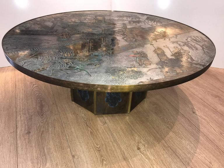 Round Etched Bronze Pedestal Coffee Table By Philip And Kelvin Laverne For Sale At 1stdibs