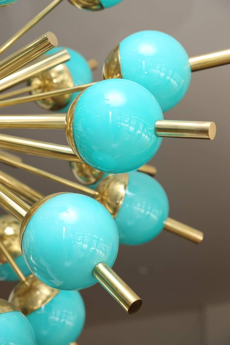 Mid-Century Modern Modern Turquoise Glass and Brass Sputnik Chandelier For Sale