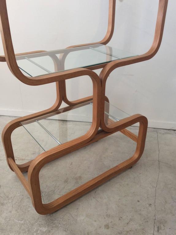 Mid-Century Modern Sculptural Molded Plywood Glass Etagere Wormley Dunbar Style 5