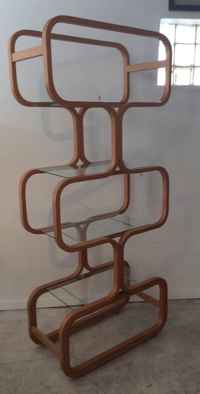 Mid-Century Modern Sculptural Molded Plywood Glass Etagere Wormley Dunbar Style 2