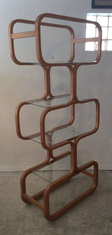 Mid-Century Modern Sculptural Molded Plywood Glass Etagere Wormley Dunbar Style 8