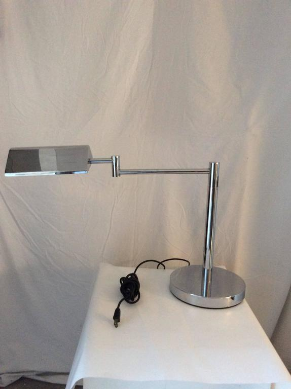 Mid-Century Modern Koch & Lowy Style Swing Arm Brass/Chrome Table, Desk Lamp 6