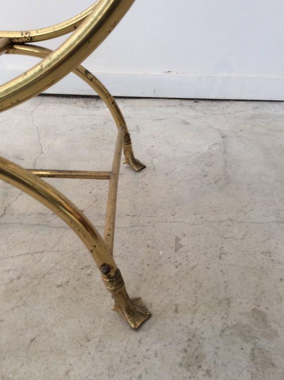 Hollywood Regency Italian Maison Jansen Style Brass Swan Curule Stool / Bench 3