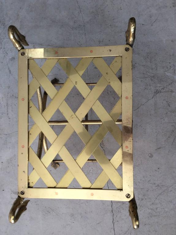Hollywood Regency Italian Maison Jansen Style Brass Swan Curule Stool / Bench 4