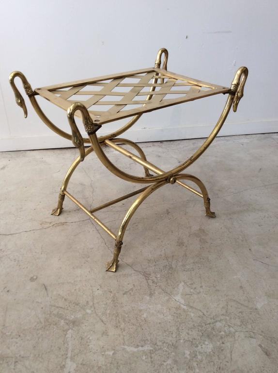 Hollywood Regency Italian Maison Jansen Style Brass Swan Curule Stool / Bench 5