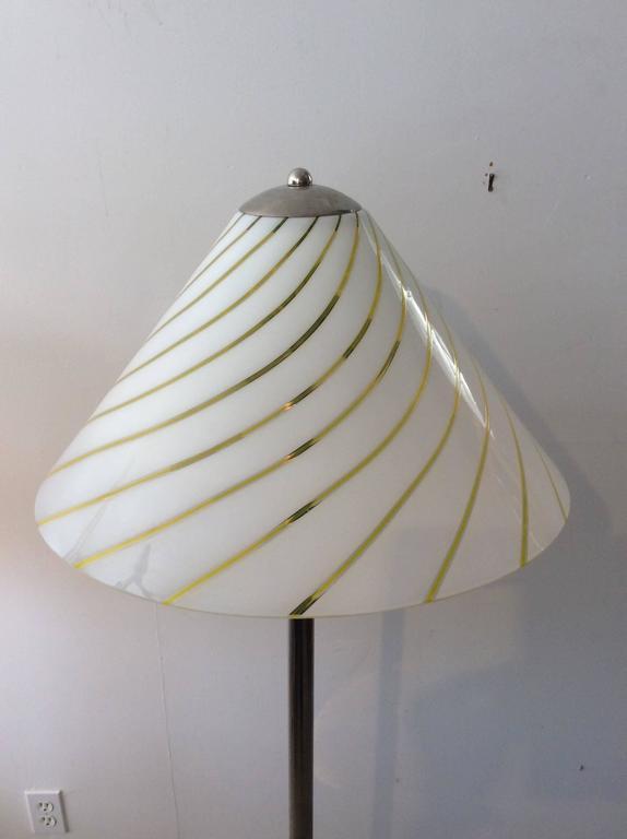 Mid-Century Modern Italian Lino Tagliapietra Style Glass / Chrome Floor Lamp 2