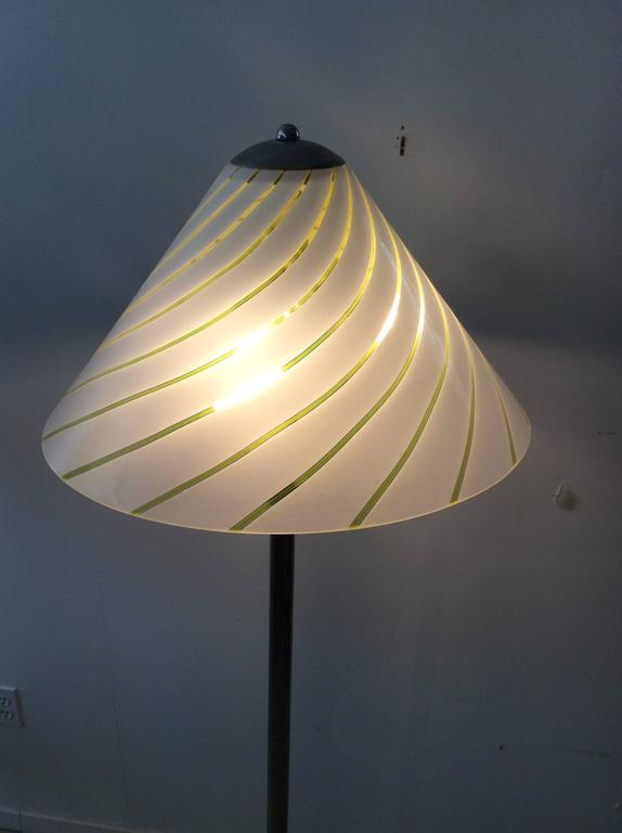 Mid-Century Modern Italian Lino Tagliapietra Style Glass / Chrome Floor Lamp 5