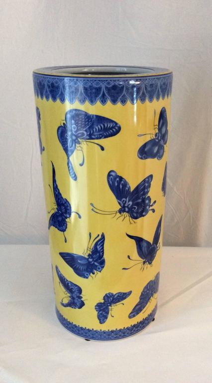 Mid-Century Modern Fornasetti Style Porcelain Umbrella Stand Butterflies 2