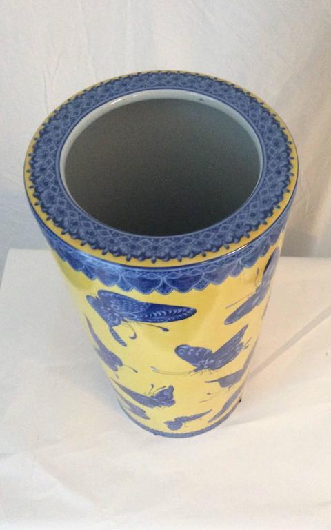 Mid-Century Modern Fornasetti Style Porcelain Umbrella Stand Butterflies 3