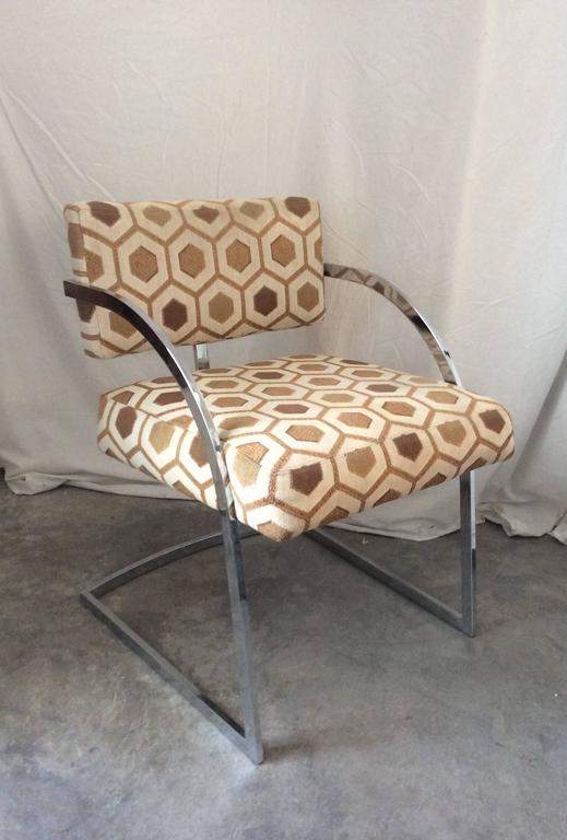 Four Mid-Century Modern Thayer Coggin Milo Baughman Chrome Dining Chairs 2