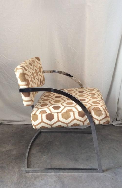 Four Mid-Century Modern Thayer Coggin Milo Baughman Chrome Dining Chairs 3