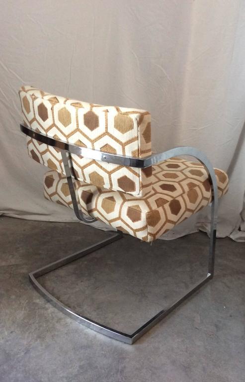 Four Mid-Century Modern Thayer Coggin Milo Baughman Chrome Dining Chairs 4