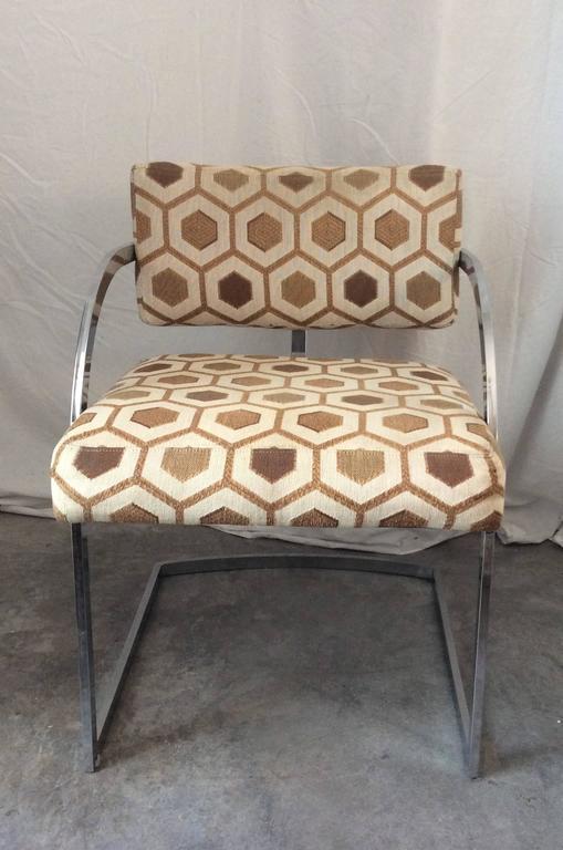 Four Mid-Century Modern Thayer Coggin Milo Baughman Chrome Dining Chairs 6