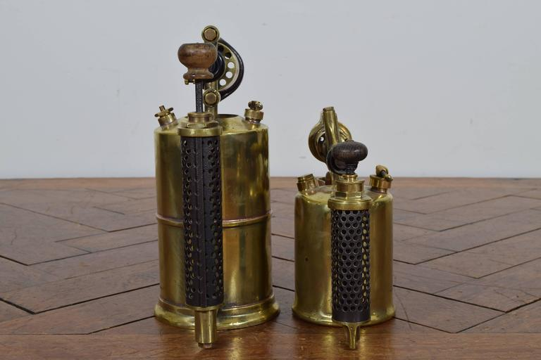 Victorian Two French Brass and Steel Oil Fueled Blowtorches, Second Half 19th Century For Sale