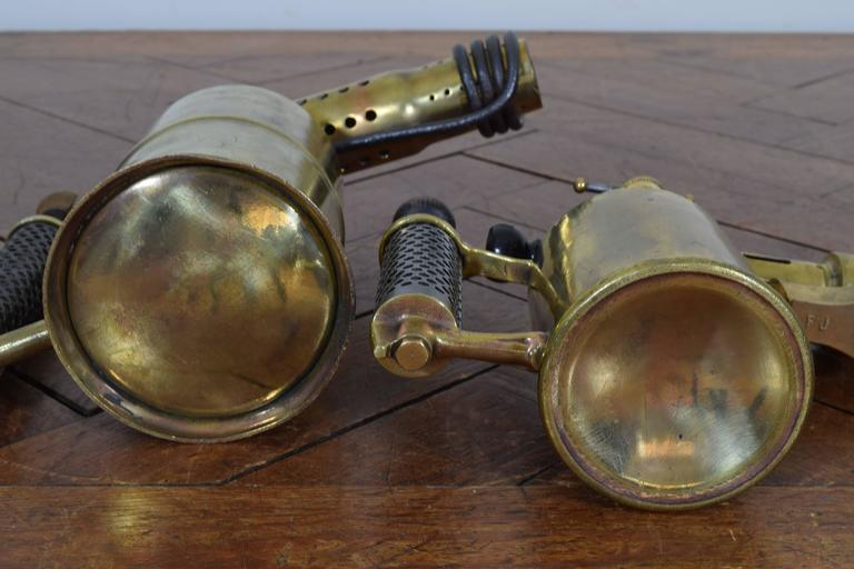 Two French Brass and Steel Oil Fueled Blowtorches, Second Half 19th Century In Excellent Condition For Sale In Atlanta, GA