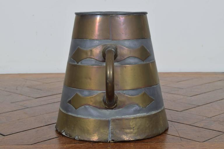 Arts and Crafts French Brass and Pewter Arts and Craft Bucket, circa 1900 For Sale