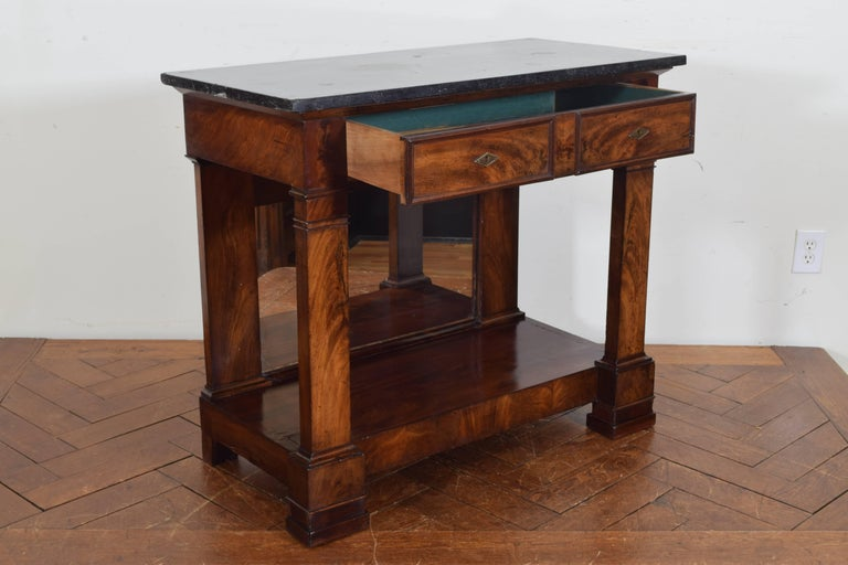 French Restauration Period Walnut and Marble-Top Console Table, 19th Century 3