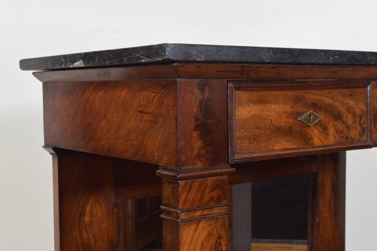 French Restauration Period Walnut and Marble-Top Console Table, 19th Century 5