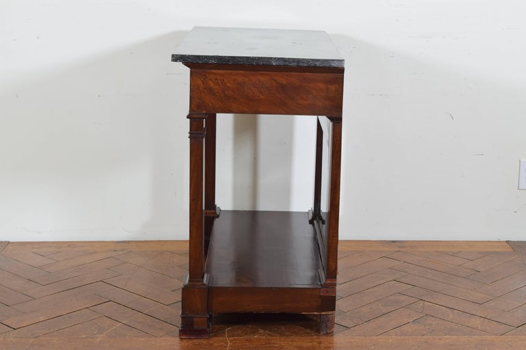 French Restauration Period Walnut and Marble-Top Console Table, 19th Century 4