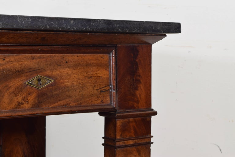 French Restauration Period Walnut and Marble-Top Console Table, 19th Century 6