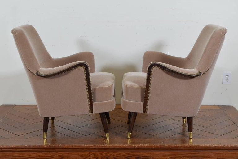 Pair of Italian Mid-Century Mahogany and Brass Bergeres, Mohair Upholstery 4