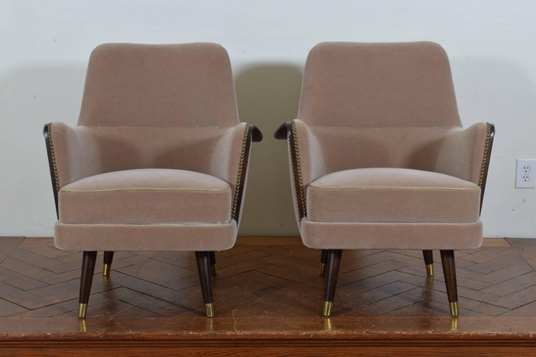Pair of Italian Mid-Century Mahogany and Brass Bergeres, Mohair Upholstery 3
