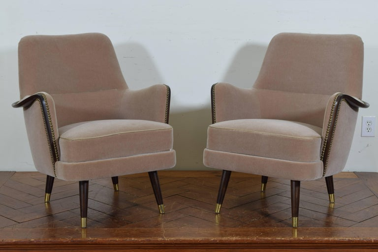 Pair of Italian Mid-Century Mahogany and Brass Bergeres, Mohair Upholstery 2