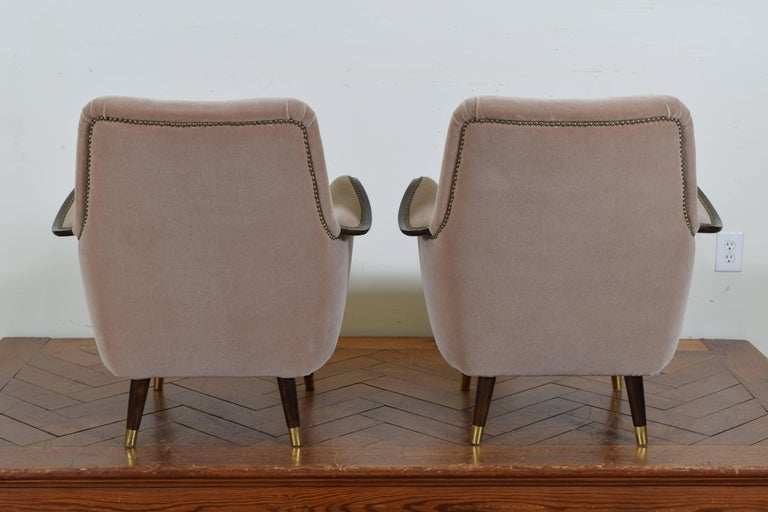 Pair of Italian Mid-Century Mahogany and Brass Bergeres, Mohair Upholstery 5