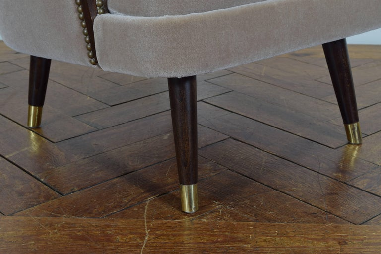 Pair of Italian Mid-Century Mahogany and Brass Bergeres, Mohair Upholstery 9