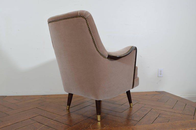Pair of Italian Mid-Century Mahogany and Brass Bergeres, Mohair Upholstery 6