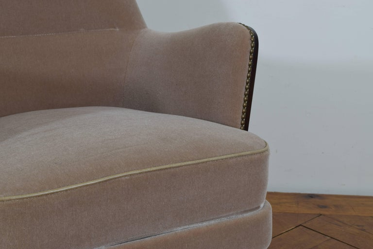 Pair of Italian Mid-Century Mahogany and Brass Bergeres, Mohair Upholstery 8