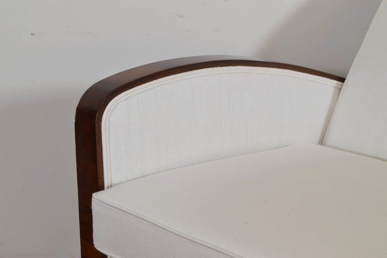 Pair of Italian Art Deco Walnut Veneer and Upholstered Club Chairs, 20th Century For Sale 3