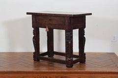 Italian Baroque Period Carved Walnut 1-Drawer Center Table, 17th Century