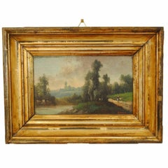 French Oil on Wooden Panel, Mid-Third Quarter of the 19th Century