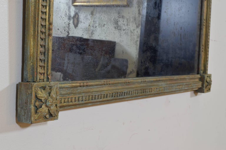 Italian Neoclassic Carved Giltwood Mirror with Verdigris Accents, 19th Century For Sale 2