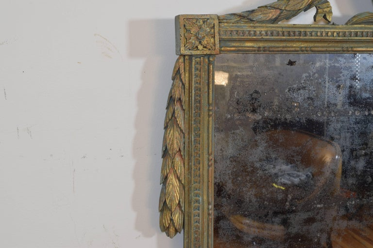 Italian Neoclassic Carved Giltwood Mirror with Verdigris Accents, 19th Century In Excellent Condition For Sale In Atlanta, GA