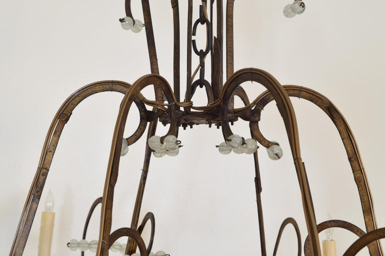 Italian Gilt Metal and Blown Glass Bead 6-Light Chandelier, 18th-19th Century For Sale 1