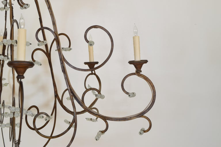 Italian Gilt Metal and Blown Glass Bead 6-Light Chandelier, 18th-19th Century For Sale 2