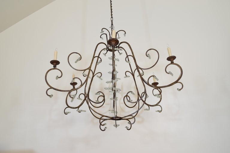 Italian Gilt Metal and Blown Glass Bead 6-Light Chandelier, 18th-19th Century In Excellent Condition For Sale In Atlanta, GA
