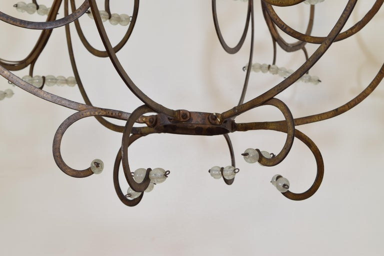 Italian Gilt Metal and Blown Glass Bead 6-Light Chandelier, 18th-19th Century For Sale 5